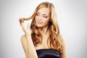 Beautiful girl with long wavy hair