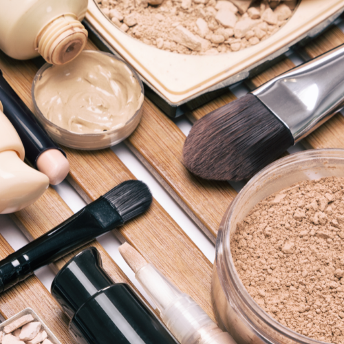 Primers, brushes, powders and foundations